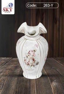 گلدان چینی لمونژطرح رزصورتی کیسلان