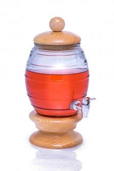 کلمن شیشه ای شامپاینی پایه چوبی 4 لیتر طرح کندوی عسل کیسلان