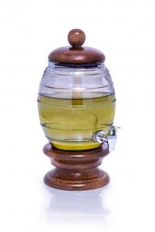 کلمن شیشه ای با پایه چوبی 4 لیتر